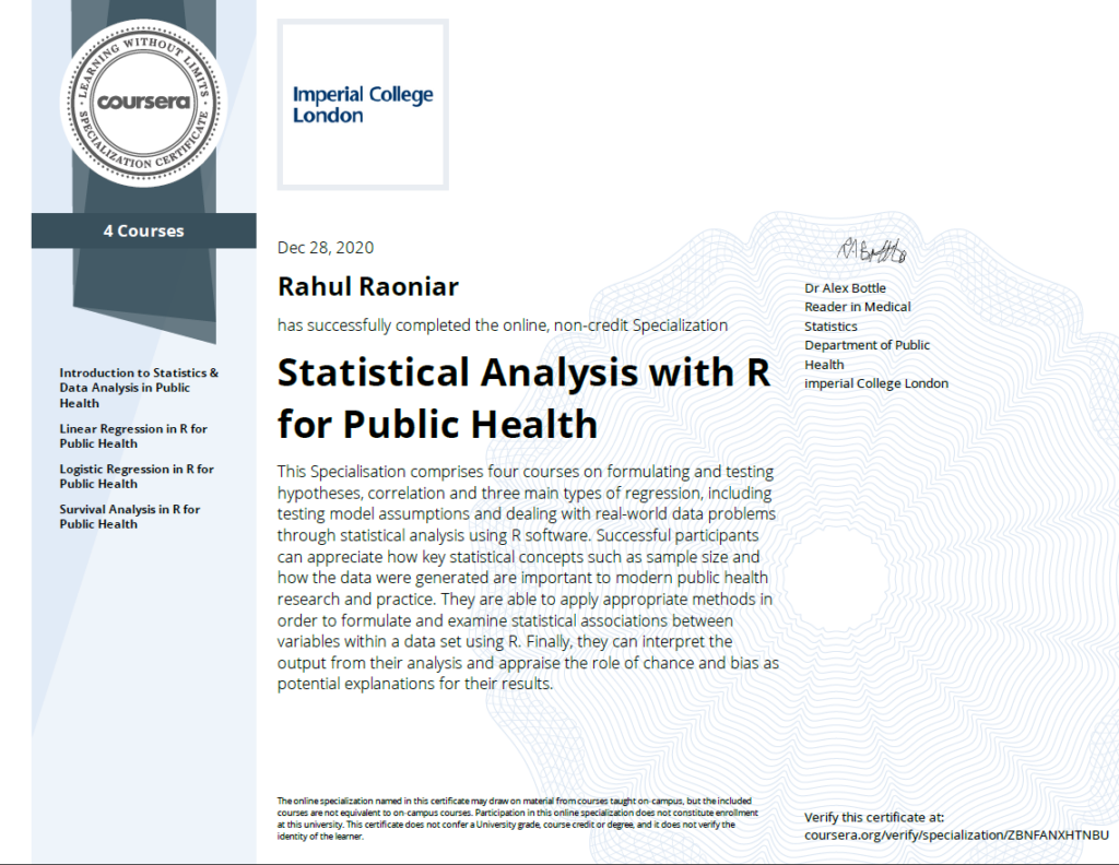 ❏ Statistical Analysis with R for Public Health